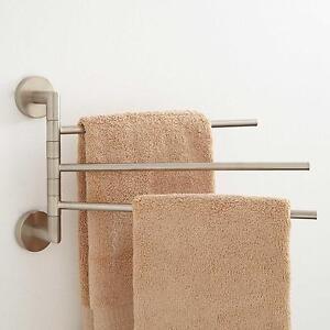 Signature Hardware Colvin Triple Swing Arm Towel Bar In Brushed