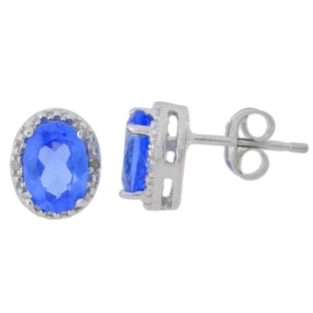 14Kt White gold Tanzanite & Diamond Oval Stud Earrings
