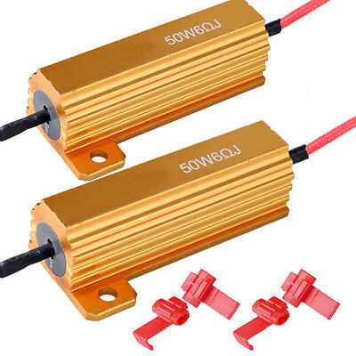 2 X 50W 6ohm LED Load Resistor Fix Bulb Fast Hyper Flash Tail Signal Blink Sales