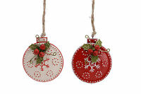 2x Metal Disc Bauble Decoration with Holly Berry Jingle Bell Red White Christmas