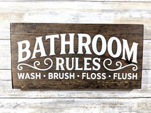 Rustic Bathroom Rules Sign Bathroom Decor Wood Bathroom Sign Farm Sign Ebay