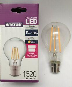 STATUS BULBS 4 X 100W = 11W LED GLS BC B22 CLEAR LAMPS WARM WHITE ENERGY A