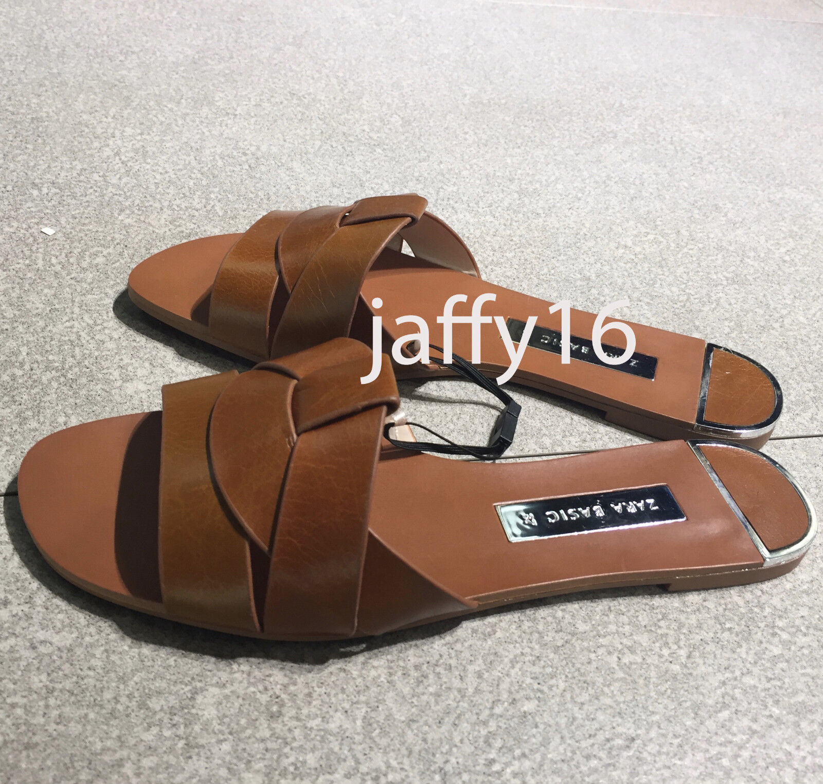 ZARA NEW NEW ZARA WOMAN Pelle CROSSOVER SANDALS FLAT Marrone SLIDE Marrone FLAT   29c5eb