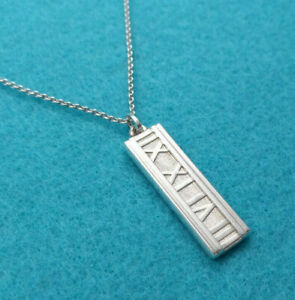 5bfd69d4bb082 Details about Tiffany & Co Atlas Roman Numeral Bar Pendant Necklace,  Sterling Silver 925