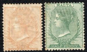 Malta-1863-buff-1-2d-crown-CC-1885-green-1-2d-crown-CA-mounted-mint-SG4-20