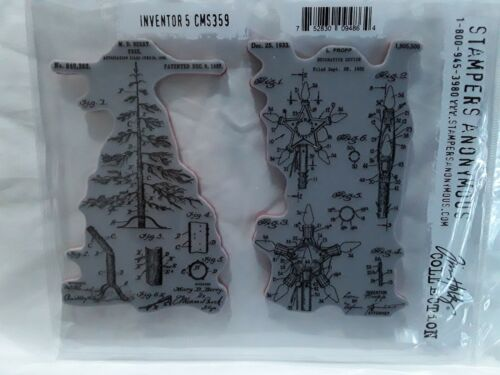 Stampers Anonymous Tim Holtz CMS359 Inventor 5 rubber mount pine tree stamp NIP
