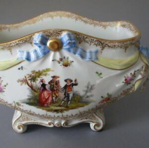 Antique-Large-12-034-DRESDEN-HP-Porcelain-Cache-Pot-FIGURES-FLOWERS-w-BOWS-Hirsch