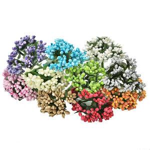 12x-kuenstliche-Staubblatt-Knospe-Silk-Blumen-Dekor-DIY-Fertigkeit-Kasten-0T0
