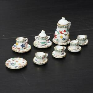 Puppenhaus Miniatur Porzellan Teekanne Tassen Geschirr B5K7 1:12 F0W4 V0P3