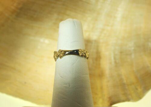 5MM PETITE SOLID 14K YELLOW GOLD DC MATTE HAWAIIAN TROPICAL PLUMERIA FLOWER RING