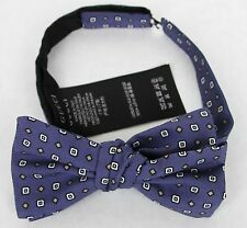 New Gucci Blue Silk Bow Tie with Habutai Print 369800 4265