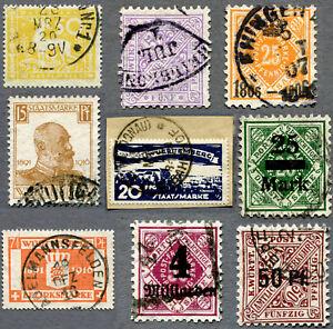 AD-Wuerttemberg-Dienstmarken-ex-101-281-gestempelt-jeweils-geprueft-Infla-BPP