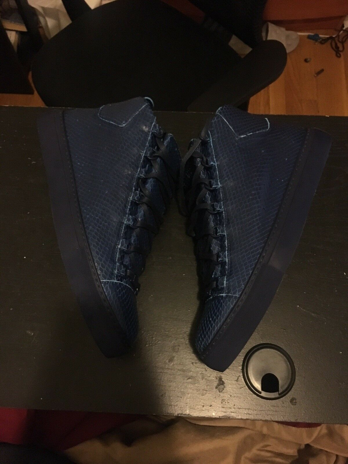 BALENCIAGA Python Arena High-Top Leather Sneakers bluee Size 44 UK (10.5 US)