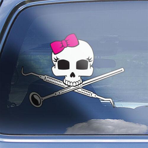 Girls Dental Hygienist Skull Decal womens dental Hygiene crossbones sticker