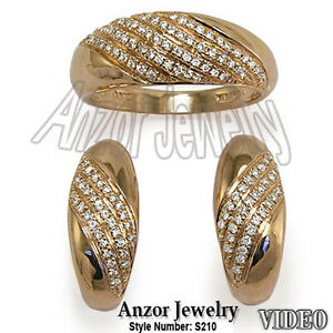 Russian Style Jewelry 18k Solid Rose Gold Pave Diamond Ring