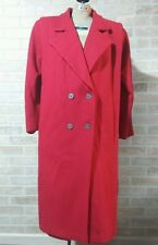 Long Red Coat Made in USA Womens XL XXL Trench Double Breasted Lined