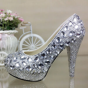 6076a3fbe745dd Image is loading Crystal-Sparkly-Bridal-High-Heel-Wedding-Bridesmaid-Prom-