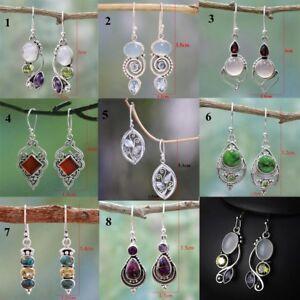 Femmes-Chic-Rainbow-Moonstone-amp-Peridot-et-Amethyste-amp-Turquoise-Pendentif-Boucles-D-039