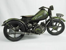 Motorcycle with Sidecar Figurine Metal Sculpture Home Decor Rustic US Army USA