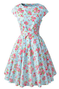 Image Is Loading Cap Sleeve Cotton Vintage Prom Dresses Floral Print