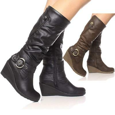 Ladies Wedge Boots Womens Faux Leather