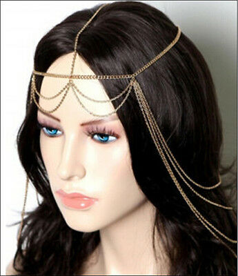 Boho Golden Women Tassels Wedding Headdress Headband Head Band Chain Headpiece