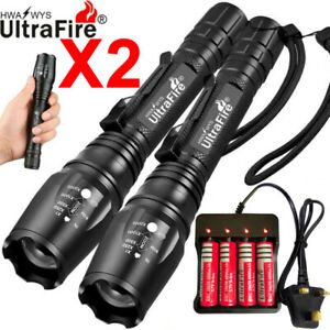 LED Tactical Flashlight 100000LM Rechargeable Zoom Torch XHP50 18650 UK