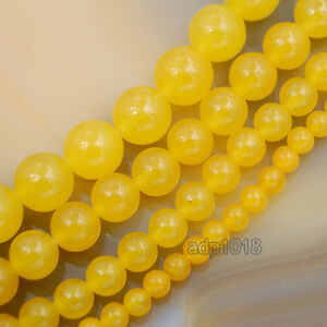 Yellow-Jade-Gemstone-Round-Ball-Spacer-Loose-Beads-15-034-4mm-6mm-8mm-10mm