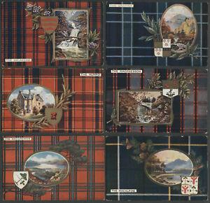 Six-Scottish-Clan-Postcards-Raphael-Tuck-Series-9459-9401-GRAHAM-DRUMMOND