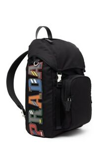 8761ce24a12d New without Tag Authentic PRADA Logo Patch Nylon Backpack in Black ...