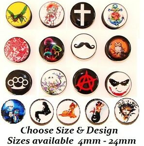 New-1-x-Black-Acrylic-Screw-Up-Logo-Ear-Plug-Assorted-Comic-Film-Tunnel-Picture