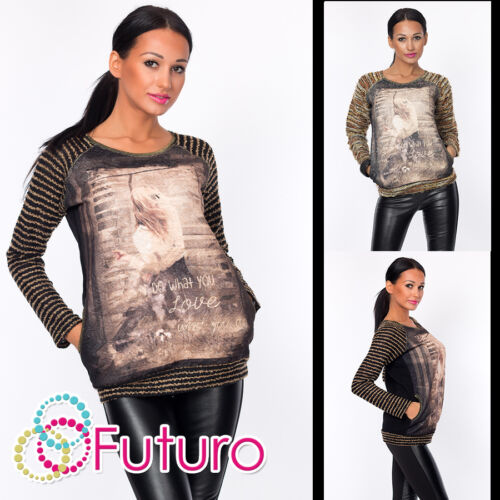 Ladies Jumper With Pockets DO WHAT U LOVE Print Top Tunic Sweat Sizes 8-12 FW29