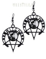 Restyle Witch Moon Gothic Satanic Alchemy Punk Occult Pentagram Jewelry Earrings