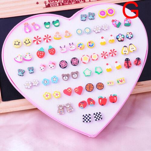 Handmade Mix Style Fruit  Flower Clay Stud Earrings Sets Child Earrings Jewelry*