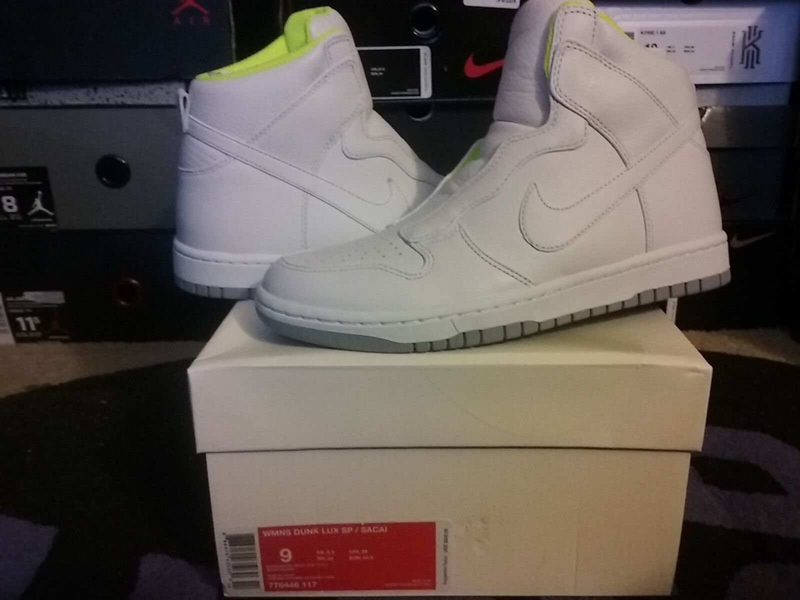 Womens Nike Dunk High Hi Lux SP Sacai White Wolf Grey Volt wmns wedge 776446 117