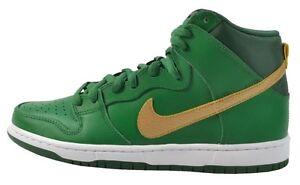 Nike-DUNK-HIGH-PRO-SB-Green-Metallic-Gold-St-Patricks-Day-D-231-Men-039-s-Shoes