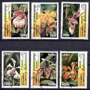 Flora-Orquideas-Camboya-24-serie-completo-de-6-sellos-matasellados