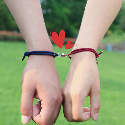 His Her Puzzle Matching Couple Bracelets,2Pcs Magnetic Mutual Attraction Adjustable Handmade Vows of Eternal Braided Rope Jewelry Gifts for Girlfriend,Boyfriend,Wife,Husband,Lover,2 Packs