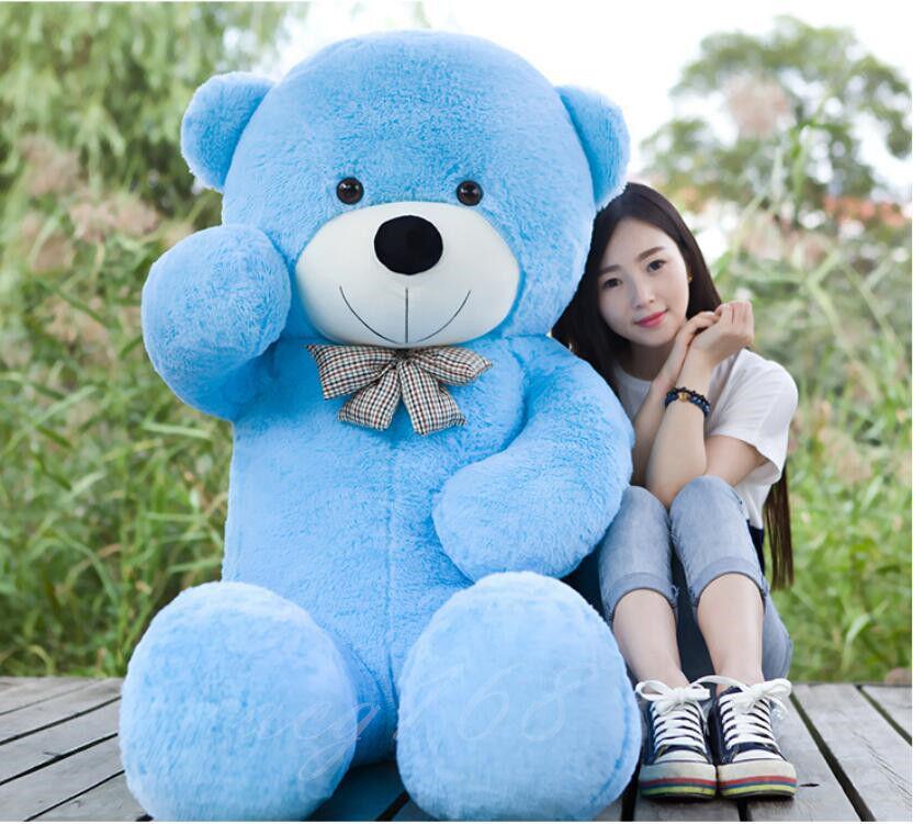 Giant 63  160cm Teddy Bear blu Soft Stuffed Big Plush Toy Bowtie Kids Xmas Gift