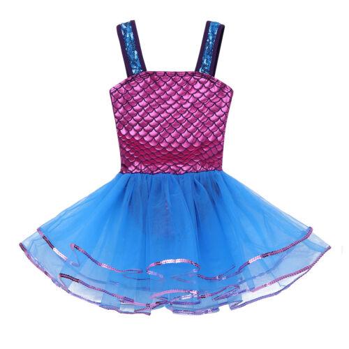 Fischschuppen Ballett Tanz Kleider Mädchen Kinder Meerjungfrau Tütü Balletkleid