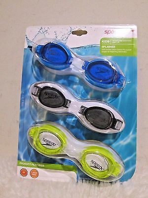 age 3-8 Speedo Kids Splasher 3-pack Goggles Blue // Black // Green New