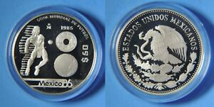 1985 Mexico Proof Silver 50 pesos-World Cup Soccer-Indian/Ball
