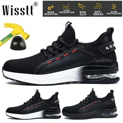 DYKHMATE Air Cushion Safety Trainers for Men Women Puncture Resistant Steel Toe Cap Safety Shoes Lightweight Breathable Work Trainers