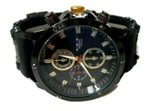 Mens Fashion Watch Milano MC47011, Black Silicone Band Water Resistant 1 ATM