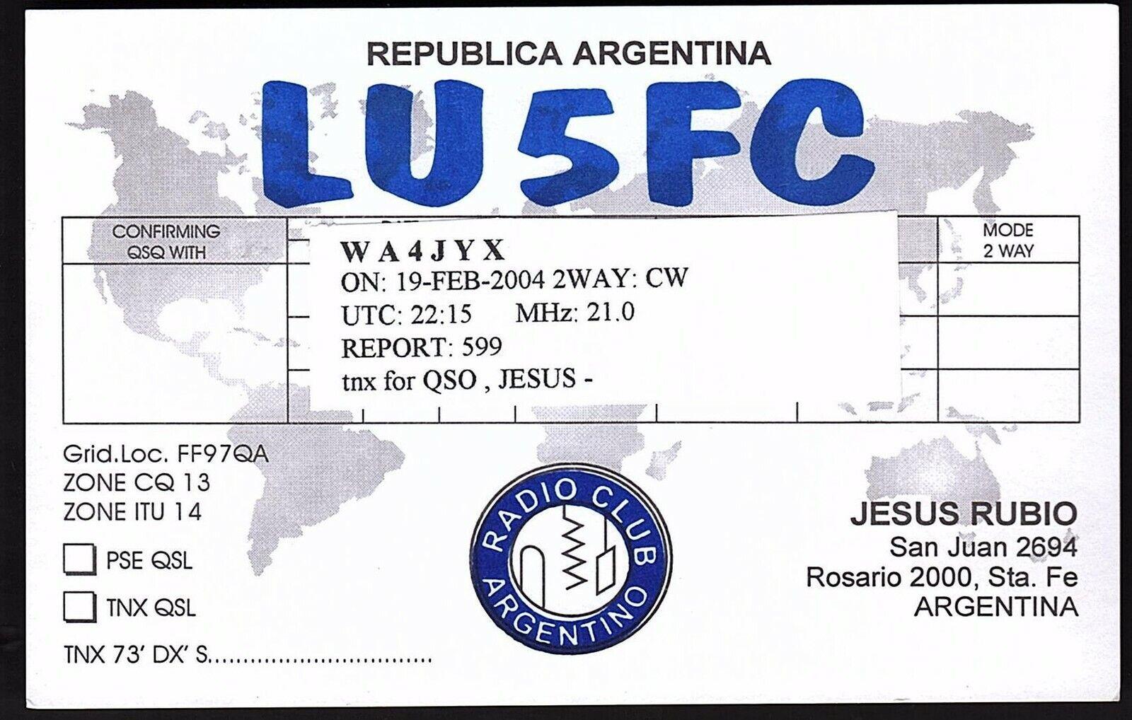 QSL QSO RADIO CARD LU5FC,Jesus Rubio,Republica Argentina, Argentina (Q2845)