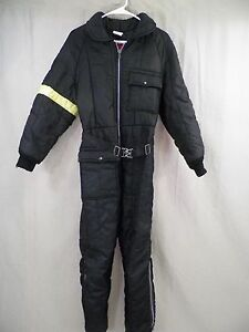 VINTAGE JC PENNEY Snowmobile Suit Black Yellow Teen's Size 16