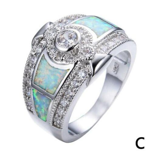 2019 Vintage Moonstone Ring Damenmode Silber Trauringe Größe 7-10