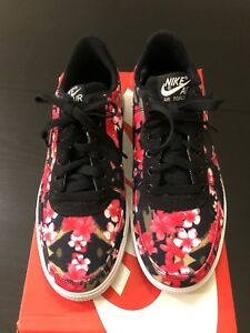 Details about Nike Air Force 1 AC QS (gs) Black Hot Pink Floral Casual Af1 677622 001 7y