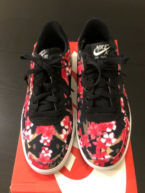 new concept 78b98 0ba2b Nike Air Force 1 AC QS (gs) Black Hot Pink Floral Casual Af1 677622-001 7y  for sale online   eBay