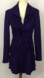 Cupio-Purple-Ruffled-V-Neck-Tiered-Belted-Jacket-Size-Small
